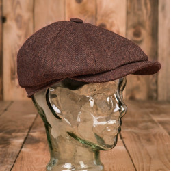 Casquette Newsboy Cap Herrinbone Brown 1928