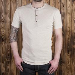 T-shirt à boutonnière manches courtes écru mélangé - 1927 Henley Shirt short Sleeve ecru melange