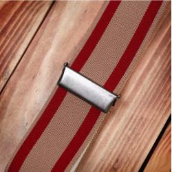Bretelles a boutonniere cuir rouge