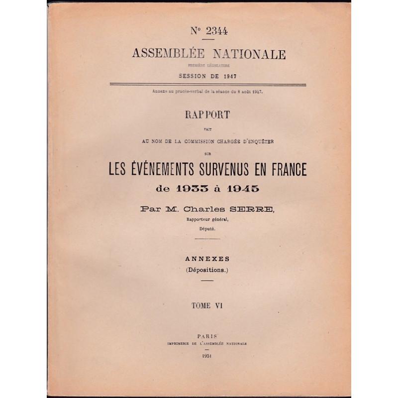 Les Événements survenus en France de 1933 à 1945.