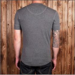 T-shirt Henley à boutonnière et manches courtes gris chiné - Pike Brothers 1927 Henley long Sleeve