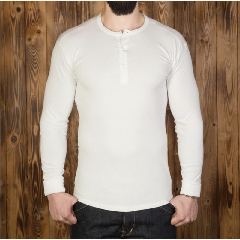 T-shirt US 100% coton à manches longues écru - Pike Brothers 1954 Utility Shirt Long Sleeve ecru