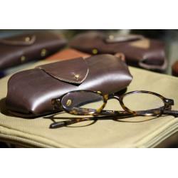 Etui à lunettes en cuir Cognac Oil - 1969 Shades Case Pike Brothers