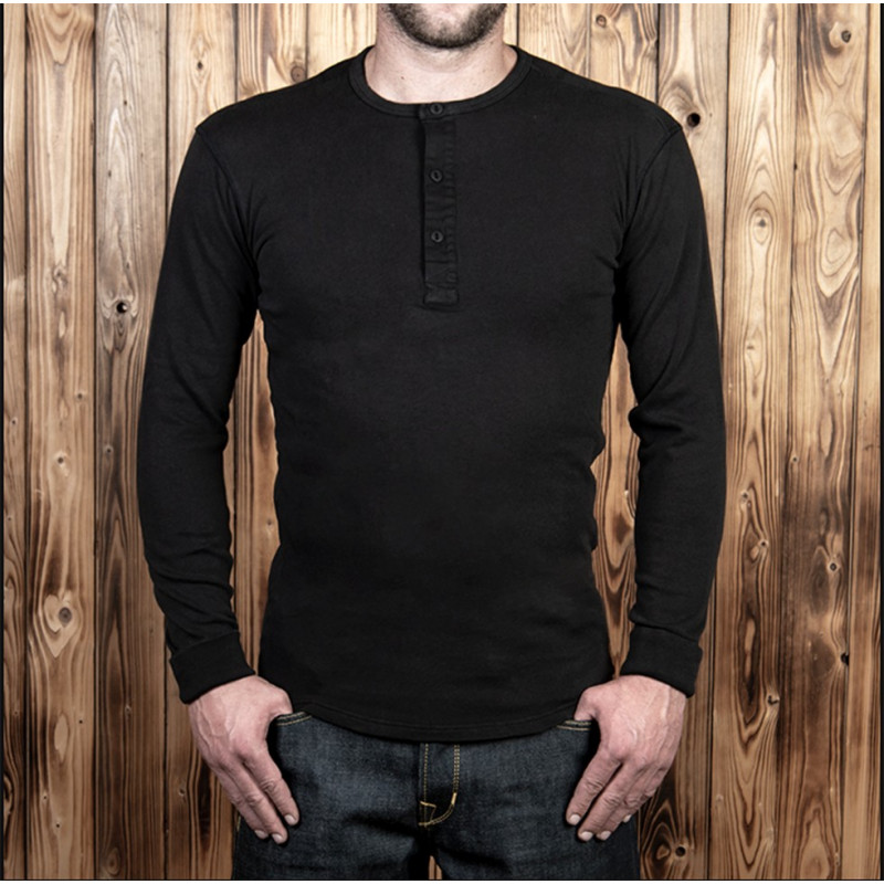T-shirt henley US 100% coton à manches longues noir- Pike Brothers 1954 Utility Shirt Long Sleeve faded black