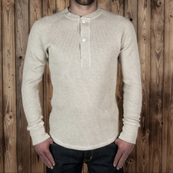 T-Shirt Henley Gaufré Ecru - 1936 Waffle Shirt natural Pike Brothers