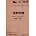 TM 30-502 FRENCH MILITARY DICTIONARY ENGLISH-FRENCH FRENCH-ENGLISH