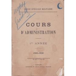 COURS D'ADMINISTRATION MILITAIRE 1ERE ANNÉE 1925-1926