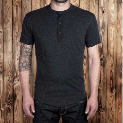 T-shirt Henley à boutonnière et manches courtes gris foncé - 1927 Henley Shirt short sleeve iron grey Pike Brothers