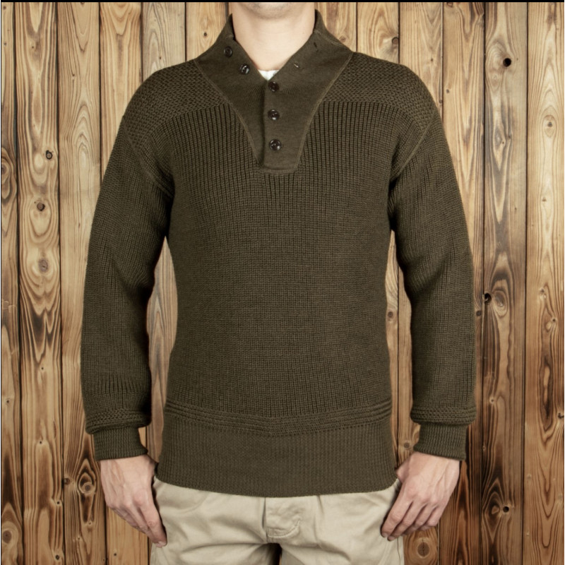 Pull 5 boutons col haut US Army 1944 - High Neck Sweater olive - Pike Brothers